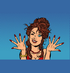 woman dries painted nails vector image
