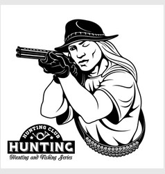 Women aims from a rifle - hunting emblem vector