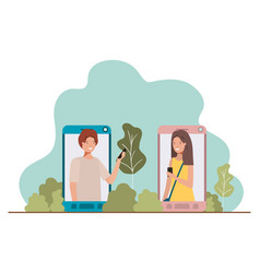 young couple in smartphone with landscape vector image