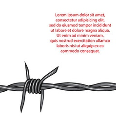 Barbed wire background fence isolated vector image