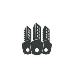 black key and buildings icon vector image