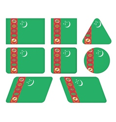 buttons with flag of Turkmenistan vector image vector image