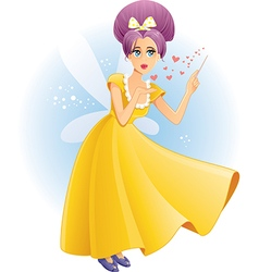 Cute Fairy with Magic Wand Spreading Love C vector image vector image