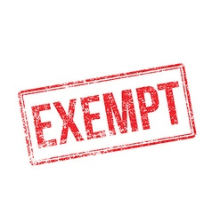 Exempt red rubber stamp on white vector image vector image
