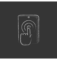Finger touching digital tablet drawn in chalk vector
