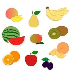 Fruits sketchy icons vector image