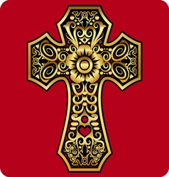 Golden cross ornament vector image