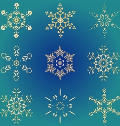 Set hand-drawn doodles gold colored snowflake vector image vector image
