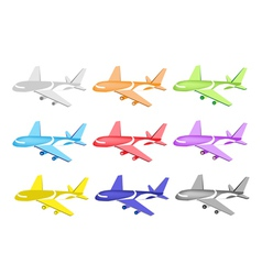 Set of Commercial Airplane Icons vector image