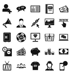 viral video icons set simple style vector image