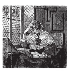 woman reading window vintage engraving vector image vector image