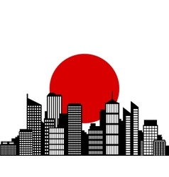 city and flag of japan vector image