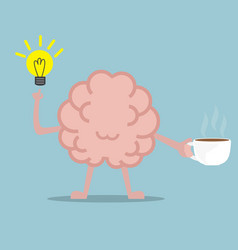 human brain drinking coffee for fresh idea vector image