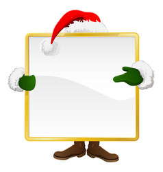 santa behind christmas sign vector image vector image