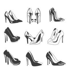 set of woman shoes on heels Fashion vector image