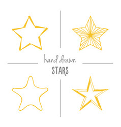 set of yellow hand drawn stars vector image vector image