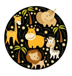 cute cartoon african animals vector image