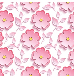 Seamless pattern with pink 3d sakura cutting paper vector image vector image
