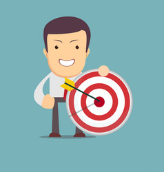 Successful businessman aiming target with arrow vector