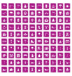 100 winter holidays icons set grunge pink vector image