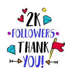 2k followers thank you blog badge vector