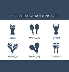 6 salsa icons vector