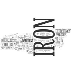 Adhd and iron deficiency text word cloud concept vector