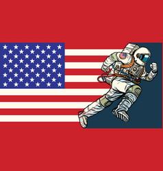 american astronaut patriot runs forward usa flag vector image