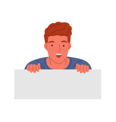 Astonished red haired teen boy peeping vector