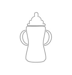 baby bottle sign black dotted icon on vector image