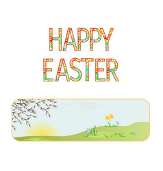Banner happy easter spring meadow vector