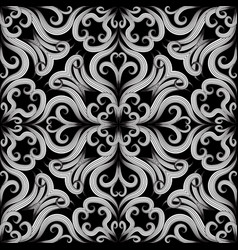 Beautiful floral black and white seamless vector