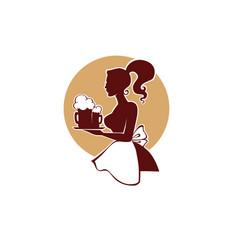beautiful woman waistress holding a beer vector image