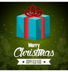 Big gift blue bow card merry christmas green vector