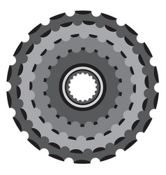 Bike metallic cogwheel bicycle crankset cassette vector