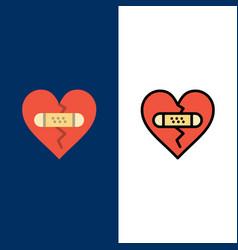 Broken emotions forgiveness heart love icons flat vector