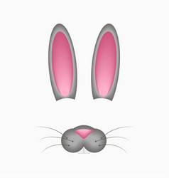 Bunny or hare face elements - ears and nose vector