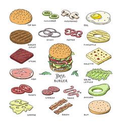 burger fast food hamburger or cheeseburger vector image