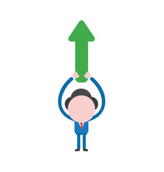 businessman character holding up arrow pointing up vector image