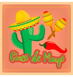 Cactus in sombrero hat Mexican maracas and chili p vector image