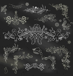 Calk Christmas page dividers and decorations on vector