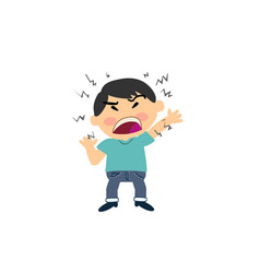 cartoon character of a angry asian boy vector image