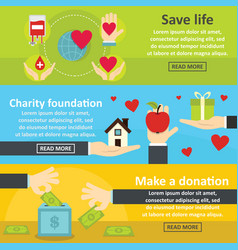 charity donation banner horizontal set flat style vector image