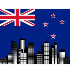 city and flag of new zealand vector image