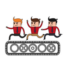 Color image cartoon teamwork riding an belt with vector