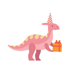 Cute dinosaur in party hat holding gift box funny vector