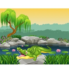 Cute little crocodile posing on the rock vector image