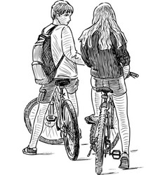 Cyclists teenagers stopped for a conversation vector