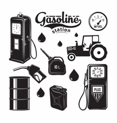 elements fo gas station emblems vector image
