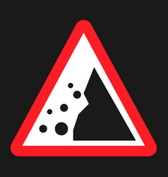 Falling rocks sign flat icon vector
